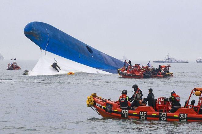 Mange studerende døde på den koreanske færge Sewol (Foto: BBC)
